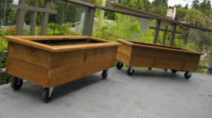 Horizontal Cedar Planter with Casters