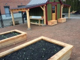 Vegetable washing station, Raised Beds, and Worm Benches
