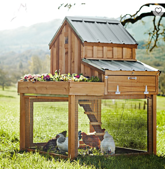 saltbox designs cedar chicken coop with planter sold by williams-sonoma